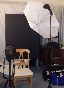 Easy One Light Portrait Setup - Back View Umbrella